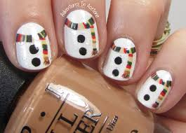 40 great nail art ideas winter doctor who scarved snowmen
