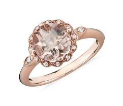 8mm diamond morganite and diamond milgrain halo ring in 14k gold 8mm