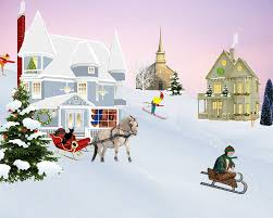 free illustration scene christmas village snow free image on