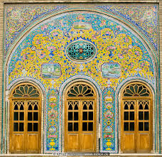 facade with ornamental windows photo golestan palace tehran iran