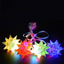 flashing christmas light necklace 2018 light up flashing spiky jelly star necklaces pendants kids