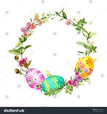 easter wreath easter eggs grass flowers stock illustration