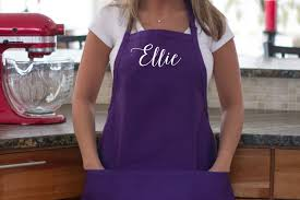 personalized apron purple custom name apron with pockets
