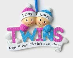 twins personalized ornament baby and baby boy