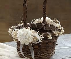 wedding baskets rustic flower girl basket sola flowers with burlap twig