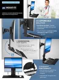amazon com mount it monitor and keyboard wall mount height