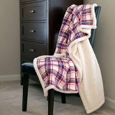 Fleece Throws Blankets Lavish Home Plaid Fleece Sherpa Polyester Throw Blanket 61 00004