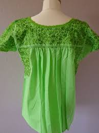 embroidered mexican wedding dress blouse lime green sml med