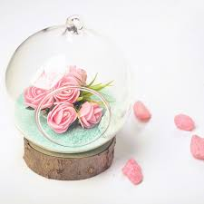 glass roses o roselif beautiful transparent glass bottle wooden party