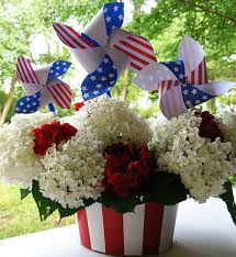 Fourth Of July Door Decorations Patriotic Pinwheels Flowers Centerpieces And Red White Blue
