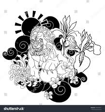 black white lucky lion tattoo designchinese stock vector 774076501