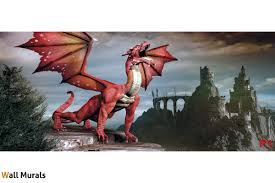murals 3d red dragon on background mystical castle wall murals 3d red dragon on background mystical castle