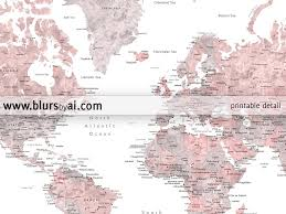 Map Of The World Printable by Dusty Pink And Grey Printable Watercolor World Map With Cities