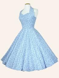 1950s halterneck daisy gingham blue dress from vivien of holloway