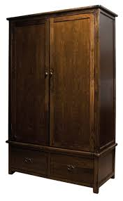 Solid Pine Wardrobes Boston Solid Pine Dark Wood Large Double Wardrobe With 2 Drawers