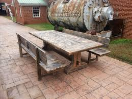 Rustic Farmhouse Dining Table With Bench Antique And Warm Distressed Farmhouse Dining Table