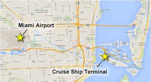 miami airport terminal map getting from the airport to the miami cruise port port