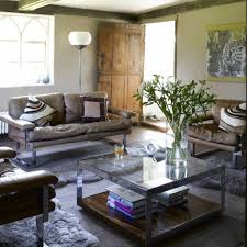 modern farmhouse living room ideas with glass coffee table using
