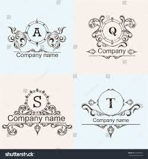 set ornamental company logos template flourishes stock
