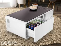 end table with usb port sobro a coffee table with fridge bluetooth speakers led lights
