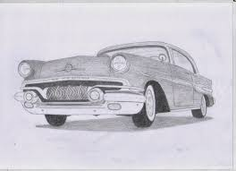 cars drawings classic car drawings 1957 pontiac chieftan original pencil drawing