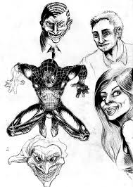 spiderman comic sketch black and white pencil by