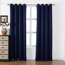 Navy Blackout Curtains Turquoize 2 Panels Solid Blackout Drapes Navy Themal