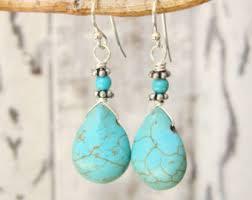 turquoise drop earrings turquoise drop earrings etsy