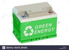 recycle battery car isolated on white background stock photo