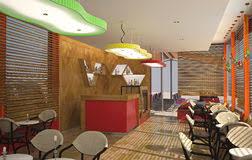 3d visualization of a cafe interior design stock illustration