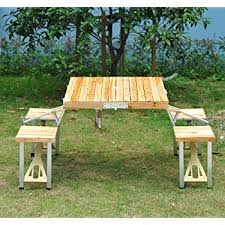 Wooden Folding Picnic Table Outsunny Portable Lightweight Folding Suitcase Picnic