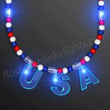 blue lights usa patriotic bead necklace at flashingblinkylights
