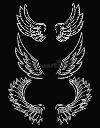 set of wings collection of black and white wings for clipart