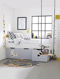 chambre enfant rangement combiné lit enfant avec rangements ligne passe passe blanc gris