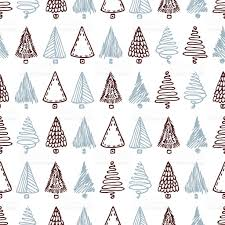 seamless pattern with hand drawn different christmas trees doodle