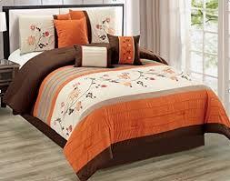Comforter Orange Modern 7 Piece King Floral Embroidered Bedding Orange Brown