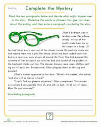paragraph stories for reading comprehension finish the mystery worksheet education