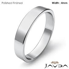 plain white gold wedding band simple plain flat pipe cut 4mm mens wedding band 14k white gold