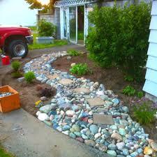 enhacing your landscape river rock garden path interior