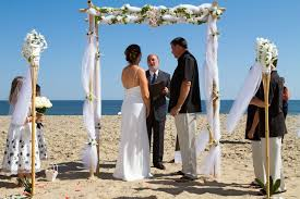 Wedding Arches Beach Cute Minimalist Two Post Beach Wedding Arch With Bamboo Wedding