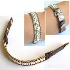 leather bracelet styles images Metal seed beads snap leather cuff bracelet 3 styles jpg