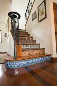 saltillo and talavera tile staircase westside tile and stone
