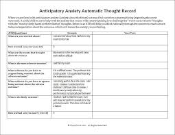 anticipatory anxiety automatic thought record worksheet psychpoint