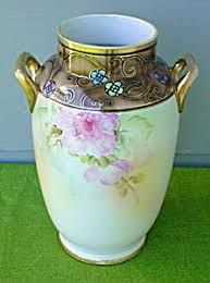 Chinese Hand Painted Porcelain Vases Lg Beautiful Hand Painted Nippon Floral Vase Nippon Pinterest