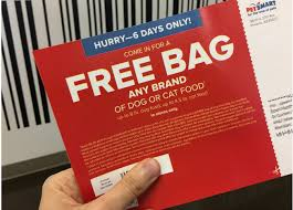 petsmart free any brand bag of dog or cat food up to 50