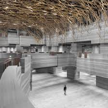 designers architects neri hu mimics rocks and trees in shanghai theatre and exhibition centre
