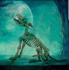 skeleton dog halloween prop halloween animated lifesize howling wolf skeleton dog prop sound