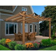 How To Build A Pergola Attached To House by New England Arbors Kennedy Attached Composite 12 Ft W X 12 Ft D