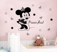 how to decorate girls room with personalized vinyl wall stickers disney minnie mouse crown personalized decals