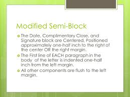 Semi Block Letter Format Business Letter Business Letter Styles Ppt Video Online Download